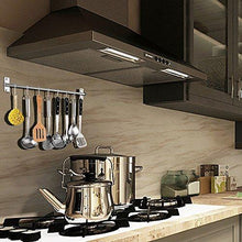 Load image into Gallery viewer, New sonorospace kitchen sliding hooks stainless steel hanging rack rail organize kitchen tools with utensil removable s hooks for towel pot pan spoon coats bathrobe bbq wall mounted hanger