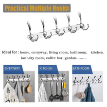 Load image into Gallery viewer, Discover the best besy wall mounted coat hooks self adhesive clothes robe hat rack rail with 15 hooks for bathroom kitchen office drill free with glue or wall mount with screws chrome plated 2 packs