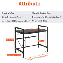 Load image into Gallery viewer, Discover the whifea microwave oven rack expandable and width adjustable microwave shelf 2 tier kitchen counter shelf and organizer with 3 hooks carbon steel 55lbs weight capacity matte black