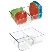Load image into Gallery viewer, Top rated mdesign food storage container lid holder 3 compartment plastic organizer bin for organization in kitchen cabinets cupboards pantry shelves 2 pack clear