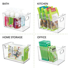 Load image into Gallery viewer, Selection mdesign plastic kitchen pantry cabinet refrigerator or freezer food storage bins with handles organizer for fruit yogurt snacks pasta bpa free 10 long 4 pack clear
