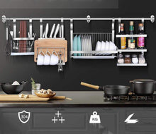 Load image into Gallery viewer, Get 304 stainless steel kitchen shelves wall hanging turret 3 layer spice jars organizer foldable dish drying rack kitchen utensils holder