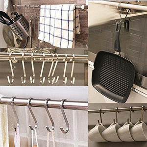 Explore daratarin flat s hooks heavy duty solid stainless steel s shaped hanging hooks metal kitchen pot pan hangers rack hooks