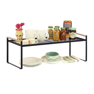 Budget friendly kitchen cabinet and counter shelf organizer storage black