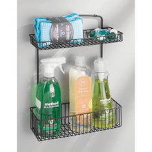 Load image into Gallery viewer, Latest mdesign metal farmhouse wall mount kitchen storage organizer holder or basket hang on wall under sink or cabinet door in kitchen pantry holds dish soap window cleaner sponges matte black