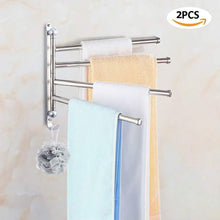Load image into Gallery viewer, Best elifeapply swivel towel rack stainless steel swing out towel bar 4 swing arms wall mounted towel holder space saving swinging towel bar for bathroom and kitchen