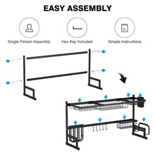 Load image into Gallery viewer, Home sink rack dish drainer for kitchen sink racks stainless steel over the sink shelf storage rack sink size 32 1 2 inch black 33 8x12 5x20 5inch