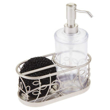 Load image into Gallery viewer, New mdesign decorative wire kitchen sink countertop pump bottle caddy liquid hand soap dispenser with storage compartment holds and stores sponges scrubbers and brushes vine design clear satin