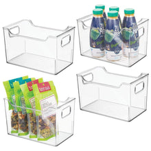 Load image into Gallery viewer, Save mdesign plastic kitchen pantry cabinet refrigerator or freezer food storage bins with handles organizer for fruit yogurt snacks pasta bpa free 10 long 4 pack clear