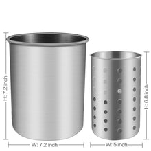 Load image into Gallery viewer, Exclusive utensil holder stainless steel kitchen cooking utensil holder for organizing and storage dishwasher safe silver 2 pack