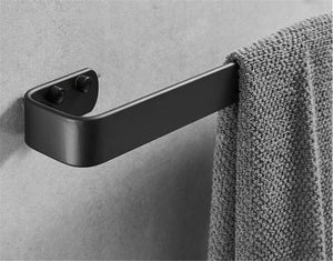 Explore xj dd 3m self adhesive towel bar solid thick black towel rail space aluminum rust towel rack for bedroom kitchen office punch free punching dual use g 60cm24inch