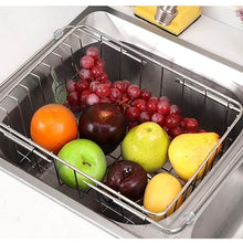 Load image into Gallery viewer, Select nice jinpai stainless steel kitchen sink rack drain basket retractable fruit and vegetable dishes storage basket drain rack