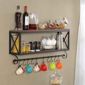 Top rated warm van rustic wood with metal bracket wall shelf living room or bedroom or kitchen multi use wall mount shelves storage rack upside down mug coffee cup holder bar club party decoration shelf