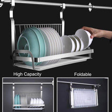 Load image into Gallery viewer, Latest 304 stainless steel kitchen shelves wall hanging turret 3 layer spice jars organizer foldable dish drying rack kitchen utensils holder