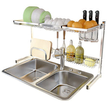 Load image into Gallery viewer, Heavy duty shelf liners kitchen shelf stainless steel dish rack sink rack kitchen homeware storage rack pool shelf dish rack storage organization color silver size 8049cm