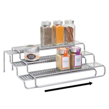 Load image into Gallery viewer, Best seller  mdesign adjustable expandable kitchen wire metal storage cabinet cupboard food pantry shelf organizer spice bottle rack holder 3 level storage up to 25 wide 2 pack silver