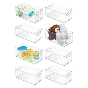 Shop mdesign deep storage organizer container for kids child supplies in kitchen pantry nursery bedroom playroom holds snacks bottles baby food diapers wipes toys 14 5 long 8 pack clear