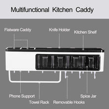 Load image into Gallery viewer, Storage organizer juyou kitchen wall pot rack caddy shelves with towel bar 7 hanger hooks cutlery cooking knife utensils mugs holder pan cookware pantry organization storage 20 inch black
