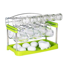 Load image into Gallery viewer, Budget friendly 3 tier mug organizer rack with drainer tray 12 hooks for drying wine glasses coffee mugs tea cups space saving storage holder for kitchen cabinet counter tabletop stainless steel plastic