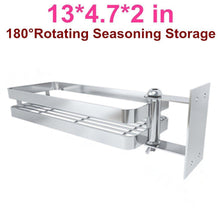 Load image into Gallery viewer, Results ming hong tang 180 rotatable stainless steel kitchen storage collecter for seasoning no drill to install detachable to wash