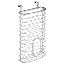 Load image into Gallery viewer, Great mdesign metal over cabinet kitchen storage organizer holder or basket hang over cabinet doors in kitchen pantry holds up to 50 plastic shopping bags silver