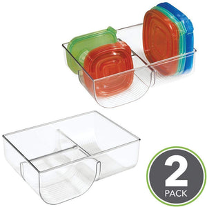 Best seller  mdesign food storage container lid holder 3 compartment plastic organizer bin for organization in kitchen cabinets cupboards pantry shelves 2 pack clear