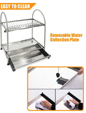 Load image into Gallery viewer, Discover the kitchen hardware collection 2 tier dish drying rack stainless steel stand on countertop draining rack 17 9 inch length 16 dish slots organizer with drainboard for cup plate bowl
