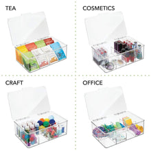 Load image into Gallery viewer, Kitchen mdesign stackable plastic tea bag holder storage bin box for kitchen cabinets countertops pantry organizer holds beverage bags cups pods packets condiment accessories clear