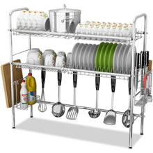 Load image into Gallery viewer, Home stainless steel sink drain rack storage shelf dish rack cutting board knife chopstick holder kitchen shelves multi style optional color silver design b double slot