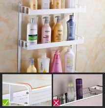 Load image into Gallery viewer, Order now 2 layer space aluminum bathroom corner shelf shower caddy shampoo soap cosmetic storage basket kitchen spice rack holder organizer with towel bar and hooks rectangle double