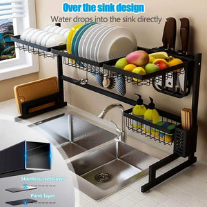 Best seller  fnboc over the sink dish drying rack adjustable dish drainer shelf multifunctional kitchen storage organizer with utensils holder sink size 32 5in