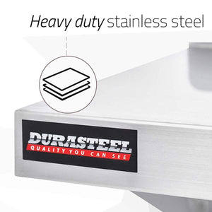 Get durasteel stainless steel wall mount shelf 84 wide x 14 deep commercial grade nsf approved good for restaurant bar home kitchen laundry garage and utility room