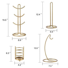 Load image into Gallery viewer, Shop here kitchen organizer set 4 piece banana hanger mug tree holder rack paper towel holder flatware caddy kitchen gifts modern collection for countertop table decor