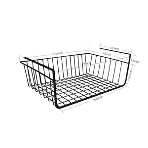 Storage organizer under shelf basket 4 pack black wire rack slides under shelves for storage space on kitchen pantry desk bookshelf cupboard