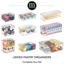 Load image into Gallery viewer, Discover mdesign stackable kitchen pantry cabinet or refrigerator storage bin with attached hinged lid compact storage organizer for coffee tea and food packets snacks bpa free pack of 2 clear