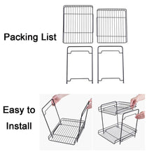 Load image into Gallery viewer, Storage organizer aiyoo 2 tier black metal bathroom standing storage organizer countertop kitchen condiment shelf rack for spice cans jars bottle shelf holder rack