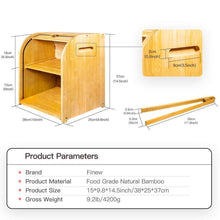 Load image into Gallery viewer, Explore bamboo bread box finew 2 layer rolltop bread bin for kitchen large capacity wooden bread storage holder countertop bread keeper with toaster tong 15 x 9 8 x 14 5 self assembly