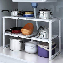 Load image into Gallery viewer, Selection yanw shelf multifunction stainless steel kitchen shelf microwave oven sink seasoning oven rack fashion family kitchen storage rack 2 layer bearing weight 30kg color white