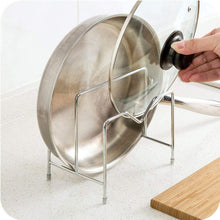 Load image into Gallery viewer, Shop here stainless steel pot rack kitchen chopping board lid pot pan storage shelf drain tableware shelves cooking tools holder