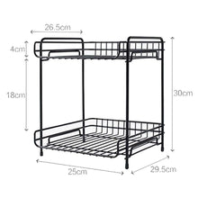 Load image into Gallery viewer, Try aiyoo 2 tier black metal bathroom standing storage organizer countertop kitchen condiment shelf rack for spice cans jars bottle shelf holder rack