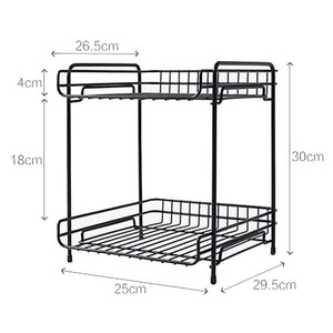 Try aiyoo 2 tier black metal bathroom standing storage organizer countertop kitchen condiment shelf rack for spice cans jars bottle shelf holder rack