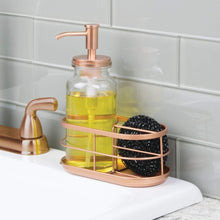 Load image into Gallery viewer, Latest mdesign modern glass metal kitchen sink countertop liquid hand soap dispenser pump bottle caddy with storage compartments holds and stores sponges scrubbers and brushes clear copper