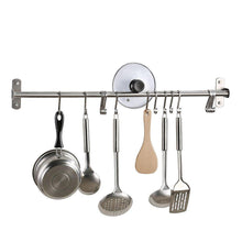 Load image into Gallery viewer, Results kes kitchen rail rack wall mounted utensil hanging rack brushed stainless steel hanger hooks for kitchen tools pot towel 15 sliding hooks kur209s80 2