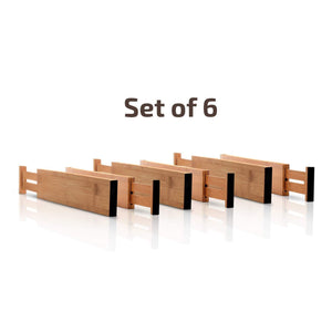 Discover the bamboo kitchen drawer dividers organizers set of 6 spring loaded adjustable drawer separators for home and office organization