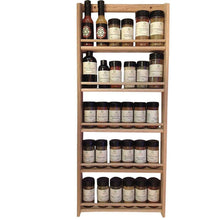 Load image into Gallery viewer, Online shopping emejiasales oak spice rack wall mount organizer 5 tier solid oak wood with natural finish seasoning storage for pantry and kitchen holds 30 herb jars