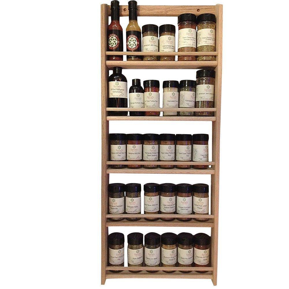 Online shopping emejiasales oak spice rack wall mount organizer 5 tier solid oak wood with natural finish seasoning storage for pantry and kitchen holds 30 herb jars