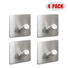 Load image into Gallery viewer, Shop heavy duty wall hooks 304 stainless steel hook wall mount for home bathroom kitchen utensils damage free utility 3m self stick hooks holds6 pounds waterproof hanger for towel keys coat bags 4 pcs