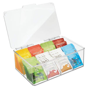 Great mdesign stackable plastic tea bag holder storage bin box for kitchen cabinets countertops pantry organizer holds beverage bags cups pods packets condiment accessories clear