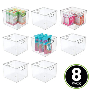 Amazon mdesign plastic food storage container bin with handles for kitchen pantry cabinet fridge freezer large organizer for snacks produce vegetables pasta bpa free 10 square 8 pack clear