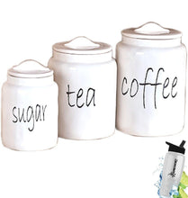 Load image into Gallery viewer, Purchase gift included white farmhouse kitchen countertop sugar tea coffee canister set free bonus water bottle by home cricket homecricket